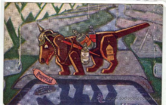 I GUERRA MUNDIAL. POSTAL ALEGÓRICA DE ALEMANIA. EL PERRO Y LA SOMBRA. ORIGINAL. SIN CIRCULAR (Postales - Postales Temáticas - I Guerra Mundial)