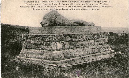 Postales: LOTE 4 POSTALES PRIMERA GUERRA MUNDIAL. Verdun Fuerte Douaumont Fuerte Vaux Monumento Capilla St - Foto 4 - 31996078