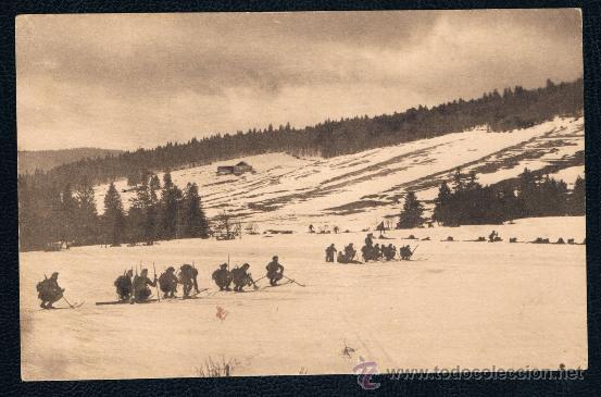 POSTAL III-2 I GUERRA MUNDIAL ESQUIADORES EN LOS VOGOS 1916 SIN CIRCULAR (Postales - Postales Temáticas - I Guerra Mundial)