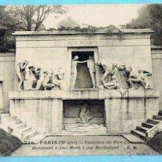 Postales: 730 PARIS. CIMETIERE DU PERE LACHAISE. MONUMENT AUX MORTS PAR BARTHOLOME. C.M.. Lote 43331265