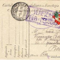 Postales: POSTAL DEL EJERCITO DE ITALIA FRANQUEADA EN LA 1ª GUERRA MUNDIAL POR EL ESCRITOR UMBERTO MANCUSO.. Lote 43976866