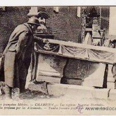 Postales: ANTIGUA POSTAL ORIGINAL. TUMBA FRANCESA PROFANADA POR LOS ALEMANES. ORIGINAL AÑO 1920. Lote 45036483