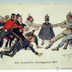 Postal alemana Primera Guerra Mundial 1914 Das europäische Gleichgewicht dibuja TH Fasche Munk Wien