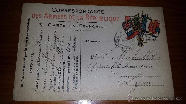 ANTIGUA TARJETA POSTAL FRANCESA DES ARMEES DE LA REPUBLIQUE LYON (Postales - Postales Temáticas - I Guerra Mundial)