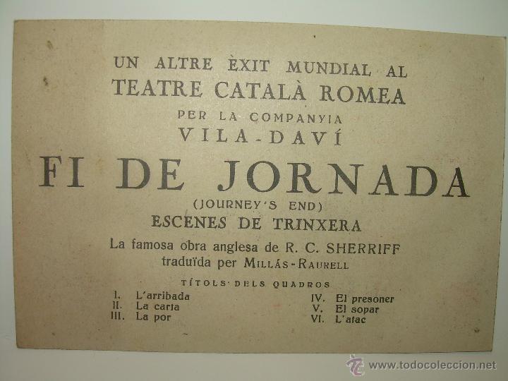 Postales: RARA POSTAL PROGRAMA....FI DE JORNANA..ESCENES DE TRINXERA...TEATRE CATALA ROMEA. - Foto 5 - 48644071