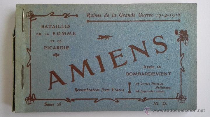 BLOQUE 24 POSTALES, AMIENS RUINAS DE LA GRAN GUERRA 1914-1918 (Postales - Postales Temáticas - I Guerra Mundial)