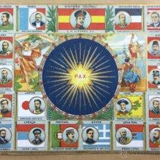 Postales: PAX. CONMEMORACIÓN DE LA PAZ UNIVERSAL. RESUMEN DE LOS ESTADOS EN GUERRA. . Lote 54092510