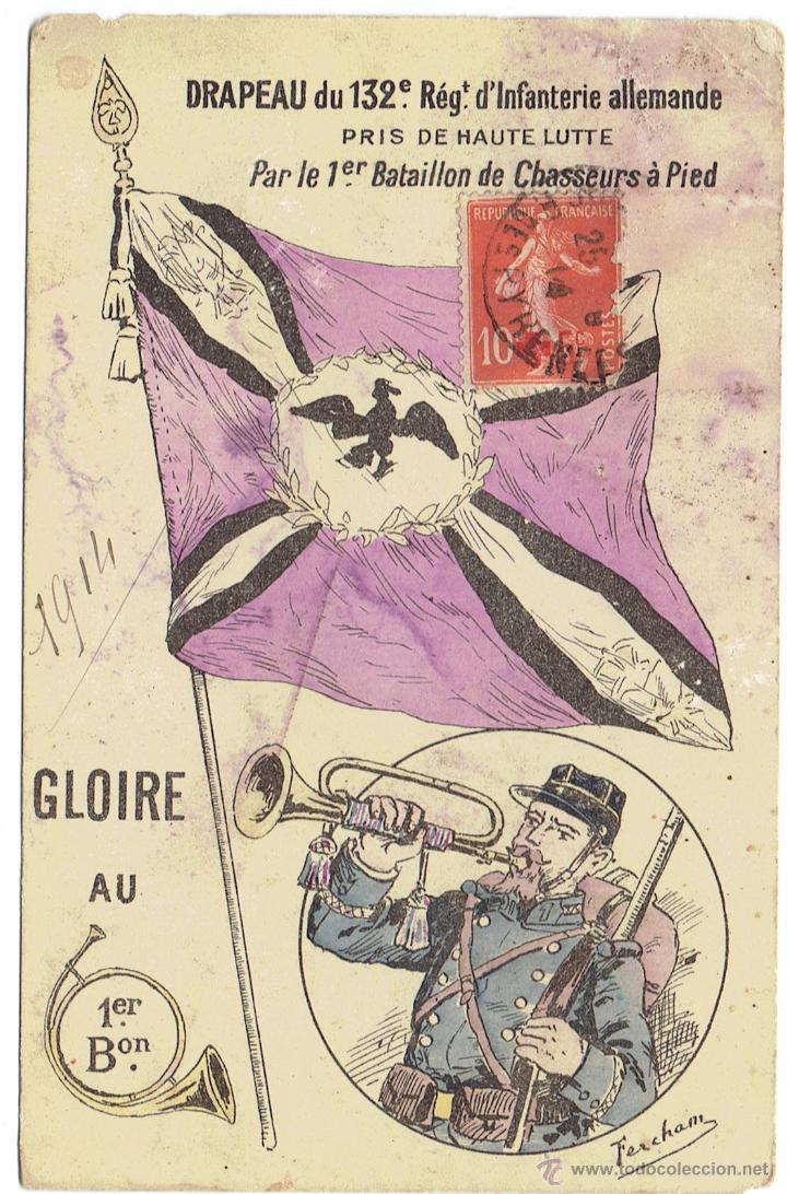 PS5801 POSTAL DE LA BANDERA DEL 132 RÉGIMEN DE INFANTERÍA ALEMÁN. I GUERRA MUNDIAL. 1914 (Postales - Postales Temáticas - I Guerra Mundial)