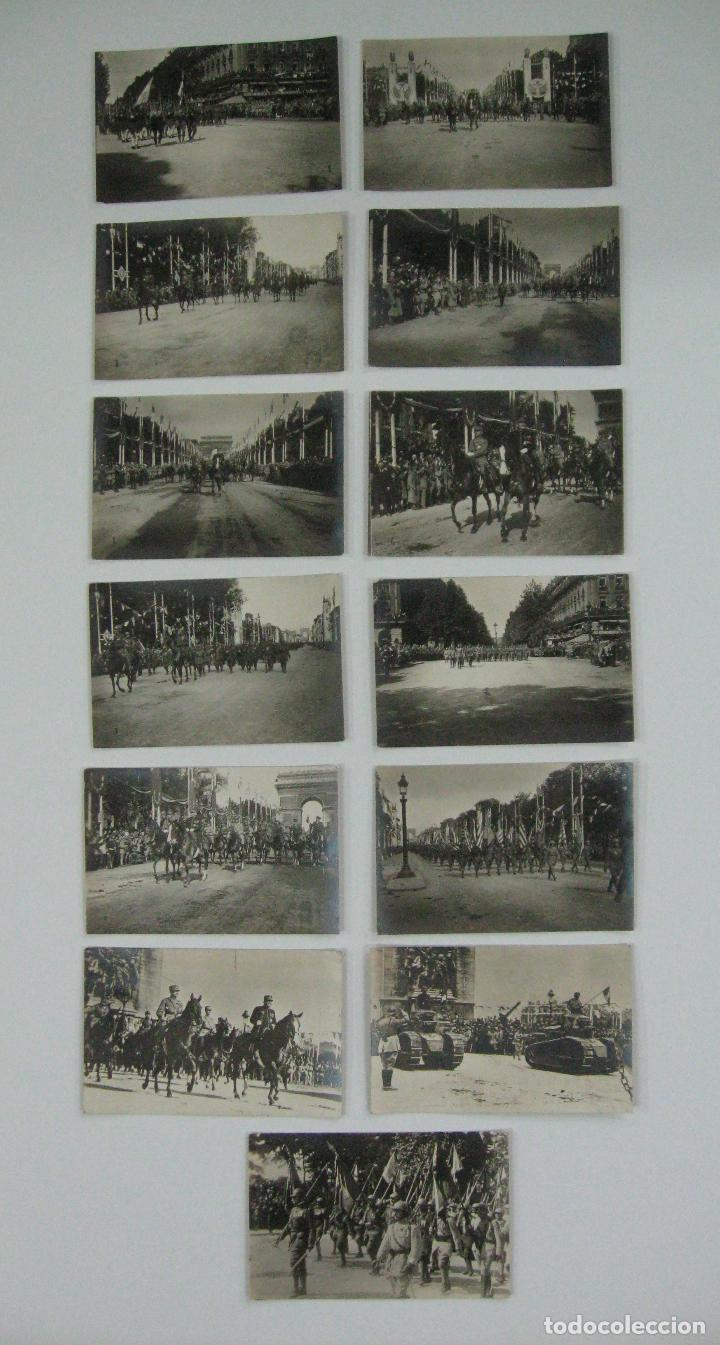 LOTE DE 13 POSTALES FOTOGRÁFICAS 1919 PARIS DESFILE DE LA VICTORIA 1ª GUERRA MUNDIAL (Postales - Postales Temáticas - I Guerra Mundial)