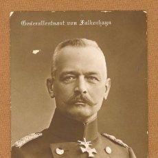 Postales: TARJETA POSTAL TENIENTE GENERAL ALEMAN ERICH VON FALKENHAYN, REGISTRADA 1ª GUERRA MUNDIAL, 1914/1918. Lote 81030500
