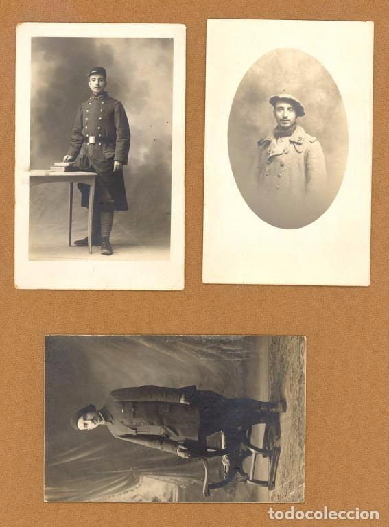 TRES TARJETAS POSTALES, RETRATOS DE UN MISMO SOLDADO FRANCES DURANTE LA 1ª GUERRA MUNDIAL, 1914/18. (Postales - Postales Temáticas - I Guerra Mundial)