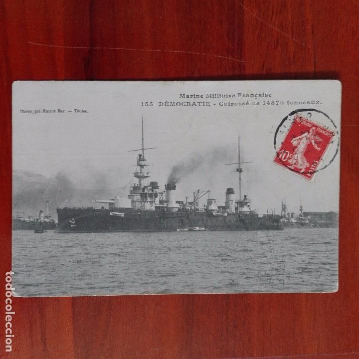 POSTAL ANTIGUA FRANCIA BARCOS MARINA MILITAR CIRCULADA MARSELLA (Postales - Postales Temáticas - I Guerra Mundial)
