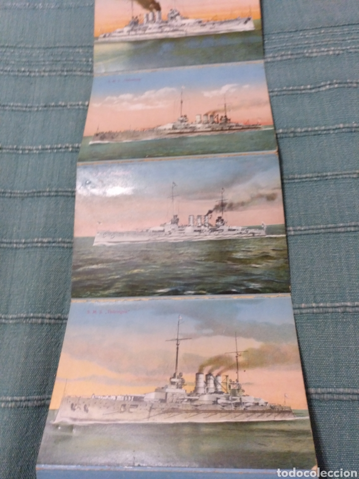 Postales: Desplegable 12 postales de la armada escuadra Alemania primera guerra mundial Conjunto difícil. - Foto 3 - 107446054