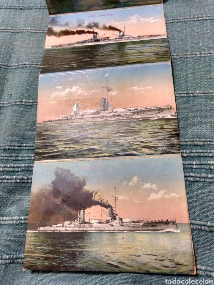 Postales: Desplegable 12 postales de la armada escuadra Alemania primera guerra mundial Conjunto difícil. - Foto 5 - 107446054