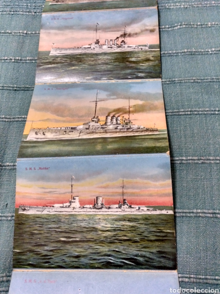 Postales: Desplegable 12 postales de la armada escuadra Alemania primera guerra mundial Conjunto difícil. - Foto 8 - 107446054