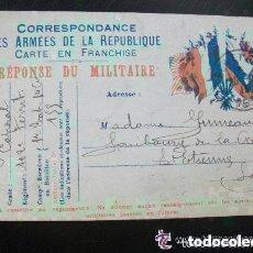 Postales: CORRESPONDENCIA DEL EJERCITO DE LA REPUBLICA . POSTAL CIRCULADA DE COMBATIENTE FRANCES . 1915.. Lote 108974471