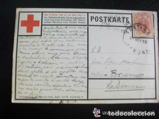 Postales: POSTAL DE LA CRUZ ROJA DE ALEMANIA CON FOTO DEL KAISER. CIRCULADA DESDE LA CORUÑA, 1918. - Foto 2 - 114061675
