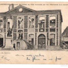 Postales: TARJETA POSTAL LANDRECIES. FRANCIA. RUINES DE L'HOTEL DE VILLE INCENDIÉ PAR LES ALLEMANDS 1918. Lote 126646010