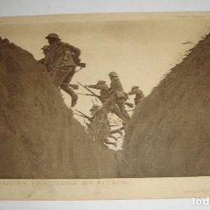 Postales: POSTAL DE LA 1ª GUERRA MUNDIAL. DAILY MAIL WAR PICTURE. INFANTERIA BRITÁNICA PRACTICANDO UN ATAQUE.. Lote 140369750