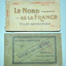 Postales: I GUERRA MUNDICAL. 2 BLOCS DE CIUDADES BOMBARDEADAS. NORTE DE FRANCIA Y VITRY EN ARTOIS. POSTALES. Lote 141972330