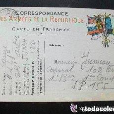Postales: Iª GM - CORRESPONDENCIA DEL EJERCITO DE LA REPUBLICA. POSTAL CIRCULADA DE COMBATIENTE FRANCES. 1915. Lote 151021110