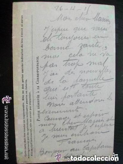 Postales: Iª GM - CORRESPONDENCIA DEL EJERCITO DE LA REPUBLICA. POSTAL CIRCULADA DE COMBATIENTE FRANCES. 1915 - Foto 2 - 151021110