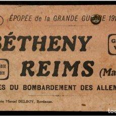 Postales: LIBRITO DE 24 POSTALES FRANCESAS DE BOMBARDEOS ALEMANES SOBRE REIMS Y ALREDEDORES.1918. M. DELBOY. Lote 155319486