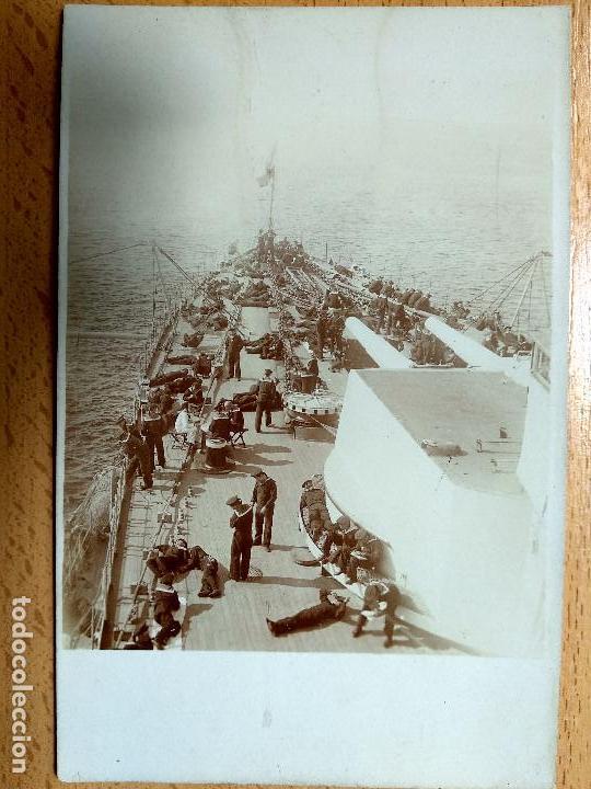 POSTAL FOTOGRAFICA. ACORAZADO POSEN TRIPULACIÓN Y CAÑONES DEL BUQUE. .. (Postales - Postales Temáticas - I Guerra Mundial)