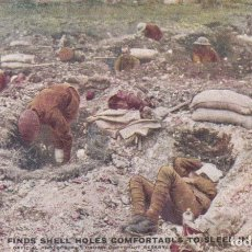 Postales: TOMMV : FINDS SHELL HOLES COMFORTABLE TO SLEEP IN OFFICIAL WAR PHOTOGRAPHS SERIES III Nº 17 . Lote 173469193