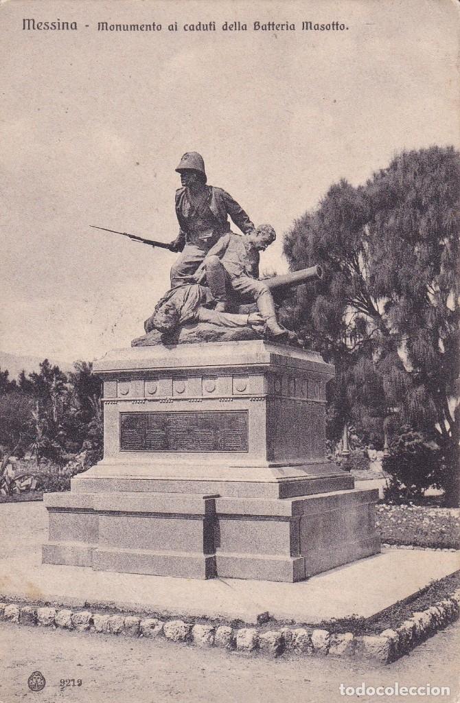 MESSINA MONUMENTO AI CADUTI DELLA BATTERIA MASOTTO ESCRITA 1909 (Postales - Postales Temáticas - I Guerra Mundial)