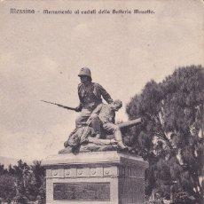 Postales: MESSINA MONUMENTO AI CADUTI DELLA BATTERIA MASOTTO ESCRITA 1909 . Lote 173469308