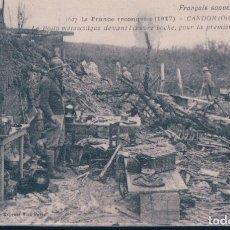 Postales: POSTAL LA FRANCE RECONQUISE 1917 - CANDOR - OISE - LE POILU MELANCOLIQUE DEVANT.... Lote 182997565