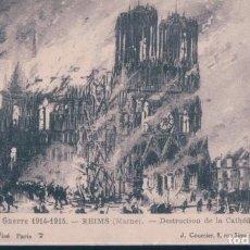 Postales: POSTAL LA GUERRE 1914-1915 - REIMS - DESTRUCTION DE LA CATHEDRALE - COURCIER. Lote 189816678