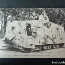 Postales: ANTIGUA POSTAL I GUERRA MUNDIAL. FRENTE DEL SOMA. TANQUE ALEMÁN CAPTURADO. . Lote 193737102