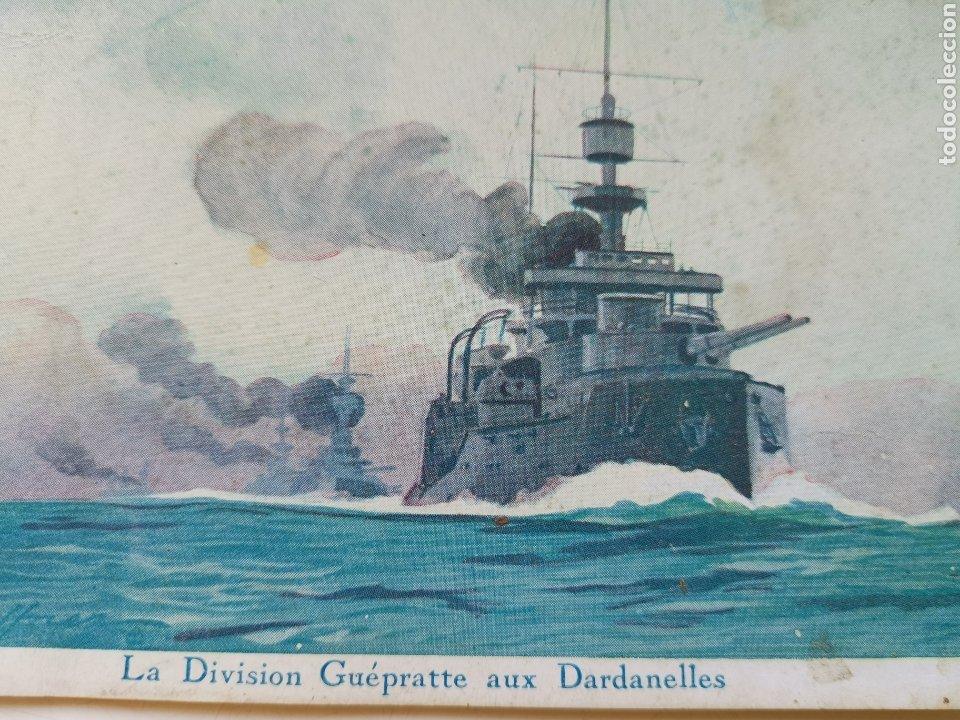 Postales: Postal Barco, La Division Guepratte Dardanelles. Ligue Maritime et Colonial. 1933 E. Chambrelent Cia - Foto 2 - 208937985
