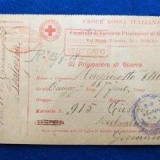 Postales: CORRESPONDENCIA DE PRISIONEROS DE GUERRA DE LA PRIMERA GUERRA MUNDIAL. CRUZ ROJA ITALIANA. Lote 212099656
