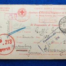 Postales: CORRESPONDENCIA DE PRISIONEROS DE GUERRA DE LA PRIMERA GUERRA MUNDIAL. CRUZ ROJA ITALIANA. Lote 212100040