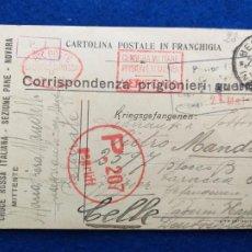 Postales: CORRESPONDENCIA DE PRISIONEROS DE GUERRA DE LA PRIMERA GUERRA MUNDIAL. CRUZ ROJA ITALIANA. Lote 212100091