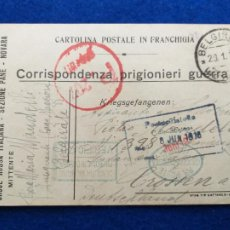 Postales: CORRESPONDENCIA DE PRISIONEROS DE GUERRA DE LA PRIMERA GUERRA MUNDIAL. CRUZ ROJA ITALIANA. Lote 212100947