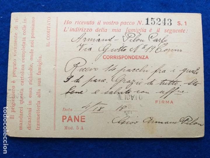 Postales: Correspondencia de prisioneros de guerra de la Primera Guerra Mundial. Cruz roja italiana - Foto 2 - 212101105