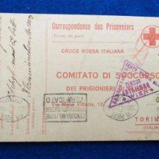 Postales: CORRESPONDENCIA DE PRISIONEROS DE GUERRA DE LA PRIMERA GUERRA MUNDIAL. CRUZ ROJA ITALIANA. Lote 212101105