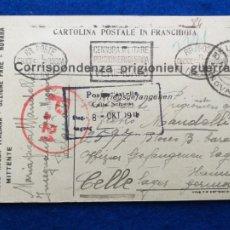 Postales: CORRESPONDENCIA DE PRISIONEROS DE GUERRA DE LA PRIMERA GUERRA MUNDIAL. CRUZ ROJA ITALIANA. Lote 212276173