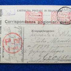 Postales: CORRESPONDENCIA DE PRISIONEROS DE GUERRA DE LA PRIMERA GUERRA MUNDIAL. CRUZ ROJA ITALIANA. Lote 212276316