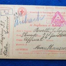 Postales: CORRESPONDENCIA DE PRISIONEROS DE GUERRA DE LA PRIMERA GUERRA MUNDIAL. CRUZ ROJA ITALIANA. Lote 212276506