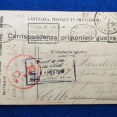 Postales: CORRESPONDENCIA DE PRISIONEROS DE GUERRA DE LA PRIMERA GUERRA MUNDIAL. CRUZ ROJA ITALIANA. Lote 212276561