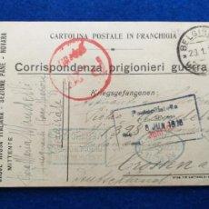 Postales: CORRESPONDENCIA DE PRISIONEROS DE GUERRA DE LA PRIMERA GUERRA MUNDIAL. CRUZ ROJA ITALIANA. Lote 212276640