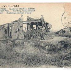 Postales: ESCENARIOS DE GUERRA: ROUTE D'YPRES - ZANDBERG - CIMETIÈRE DE TANKS. Lote 221840236