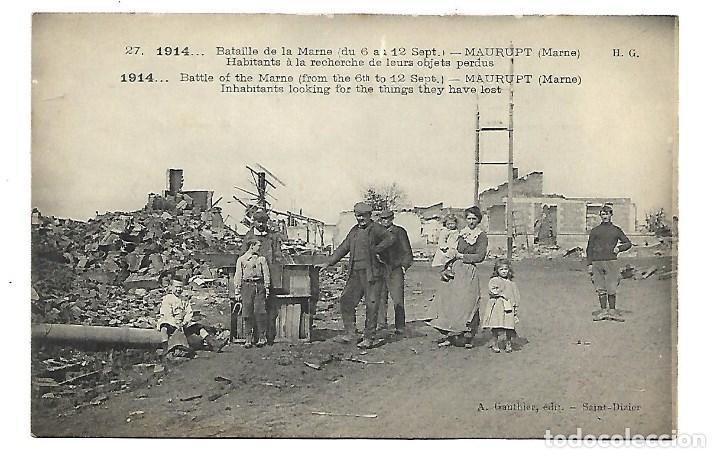 LA GUERRA MUNDIAL DE 1.914 DE LA BATALLA DE LA MARNE HABITANTES DE UN PUEBLO (Postales - Postales Temáticas - I Guerra Mundial)