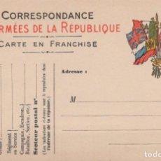 Postales: CORRESPONDANCE DES ARMEES DE LA REPUBLIQUE - CARTE ENFRANCHISE - GUERRA 1914-18. Lote 222339411
