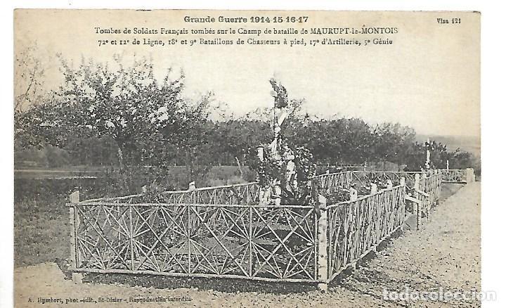 LA GUERRA MUNDIAL DE 1.914-TUMBAS DE SOLDADOS FRANCESES SOBRE EL CAMPO DE BATALLA DE MAURUPT MONTOIS (Postales - Postales Temáticas - I Guerra Mundial)